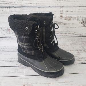 TOMMY HILFIGER Gilia Black Plaid Boots Size W11